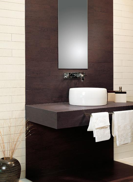Baños Con Azulejos Grandes:la madera combina fácilmente con mobiliario moderno Aquí vemos