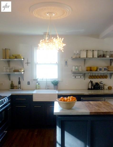cocina, lámpara de techo y encimera