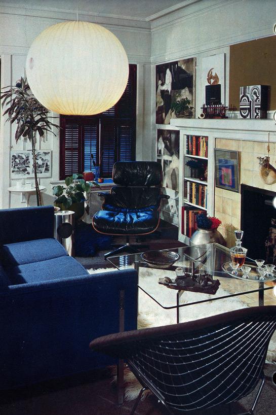 muebles azules en la sala