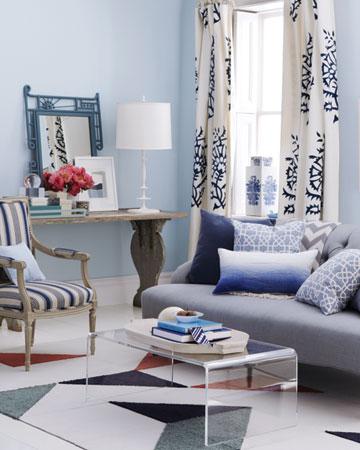 salón elegante azul