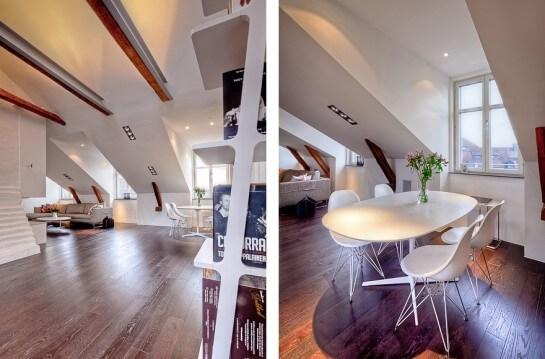 El minimalista también se rinde a las vigas de madera al aire